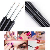 Wholesale manicure design brushes resale online - 3pcs Set Nail Art Liner Brushes Set Drawing Painting UV Gel Pen D Tips DIY Flower Line Design Pen Manicure Nail Art Tool