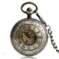 Wholesale Rome Antique - Vintage Bronze Carving Cooper Rome Numbers Transparent Gold Skeleton Hand Winding Mechanical Steampunk Fob Watches Gift for Men Women