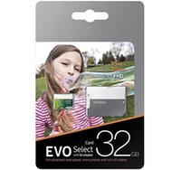 Wholesale usb memory card adapter - 100% Brand New Gray Green EVO Select 32GB 64gb 128gb 256gb TF Flash Memory Card Class 10 Free SD Adapter Retail Blister Package