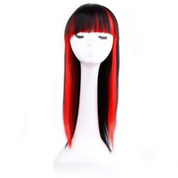 Wholesale wig bangs auburn - Amir Synthetic Long Yaki Straight Wigs With Bangs For Women High Temperature Fiber Cosplay Wig Black Female Hairpiece