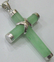Wholesale red jade necklaces pendants resale online - natural green black red yellow blue white jade shell cross pendant pc