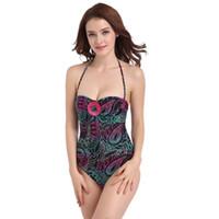Wholesale plus sized swimwear for women online - Swimmart New Sexy One Piece Women Swimwear Bodysuits Print Swimsuit Plus Size For Female Summer Beach Suit