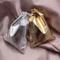 дешевые атласные сумки оптовых-13x18cm украшения шнурок упаковка PouchesBags Гарантия 100% атласная ткань Золотой / Серебряный мешок 50 шт. / лот подарочные пакеты дешевые