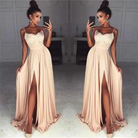 Wholesale cheap winter dresses online - Spaghetti Straps Front Thigh High Slit Sexy Chiffon Prom Dress Lace Top Cheap Champagne Long Evening Dress Online