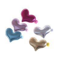 shinny hair оптовых-5 Pieces PU Leather Gold Silver Pink Shinny Gloss Heart Hair Clip Girls Hairpin Blue Glitter Pretty Kid Birthday Party Barrette