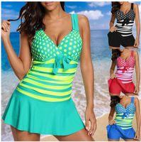 Wholesale plus size polka dot top - 2018 Women's lady's Fashion Striped Polka Dot Swimsuit 2Piece Swimwear Swimdress top and shorts Bathing Suit Beachwear Bikini Plus Size t22