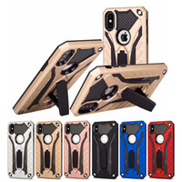 Wholesale heavy duty iphone hybrid for sale – best Hybrid PC TPU Heavy Duty Defender Armor Kickstand holder Stand Case For iPhone X XR XS MAX S Plus Samsung Note9