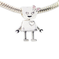 Wholesale angels charms - 2018 Spring New 925 Sterling Silver Bella Robot Charm Pink Enamel Bead Fits Pandora Bracelet DIY for Women Jewelry Accessories