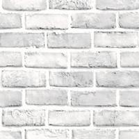bâtons de papier blanc achat en gros de-Blanc 45 * 100CM Brique Rétro Autocollant Décor Autocollant Effet Rustique Pierre Conception Cuisine Mur Papier Peint Stickers Autocollants à vendre