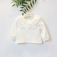Wholesale White High Collar Blouse - 2018 INS spring NEW arrival Girls Kids solid color long Sleeve cute doll round lace collar shirt kids causal high quality cotton white shirt