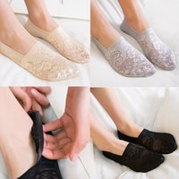 Wholesale invisible shorts - Summer Hot Women Lace Flower Cute Short Sock Cotton Antiskid Invisible Ankle Liner Low Cut Sock