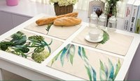 Wholesale painted leaf - Ink Painting Leaves Placemat Green Color Leaf Pad Cotton Linen Table Mat Napkins Fabric Table Pad