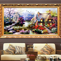 bordado artificial al por mayor-Combinado Nuevo Hot Diy 5d Diamond Mosaic Landscapes Garden Lodge Full Diamond Painting Stitch Kits Diamond Embroidery Home Decoration
