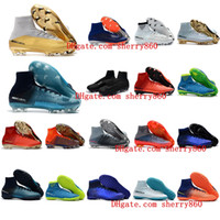zapatillas de fútbol sala cr7 al por mayor-2018 botines de fútbol para hombre Mercurial Superfly V Ronalro FG zapatos de fútbol para niños botas de fútbol cr7 niños botas neymar Rising Fast Pack barato