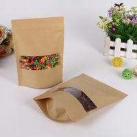 zip lock bolsa de papel marrom venda por atacado-100 pçs / lote Brown saco de papel kraft com janela stand up Zipper / fecho de correr saco de Embalagem de Jóias sacos de papel para presentes / chá / natal
