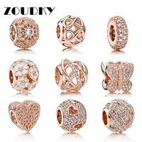 joyería de colocación al por mayor-ZOUDKY S925 Plata de ley Rosa Claro CZ Charm beads collocation Bracelet DIY pulsera Granos Para Joyería de Fábrica al por mayor