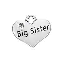 ingrosso grande fascino della sorella-30PCS DIY Accessori Gioielli Retro lega pendente lettere a forma di cuore sempre BIG SISTER Charm ciondola gioielli