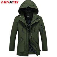 mens ordu yeşil parka toptan satış-LONMMY 5XL Kış ceketler erkek parka erkekler kalınlaşmak Coats erkek Nedensel Giyim Streetwear Gri Siyah Ordu yeşil rüzgarlık 2018