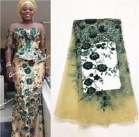ingrosso tessuti di pizzo di nozze-Nuovo nigeriano ricamato paillettes tessuto di pizzo sposa tessuti da sposa in verde paillettes India rete africana tulle voile svizzero JLN132