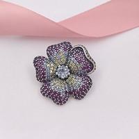 ingrosso spille perle-Autentico 925 Sterling Silver Beads Glorious Bloom Ciondolo e spilla Charms Adatto europeo Pandora gioielli stile collana bracciali 397081