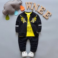 Wholesale Childrens Animal T Shirts - 2018 Newborn Baby Boys Girl Clothes Spring Autumn T shirt Coat Pants 3PCS Sets Outfits Kids Jogging Suits Childrens Tracksuits