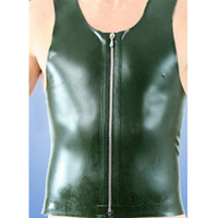 Wholesale Latex Clothes Men - hot sexy lingerie Latex Men Vest Shirt sleeveless with Metal zipper garment Uniform Clothes Maid Costume Male Short Sleeves Tops