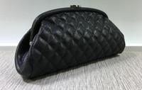 schwarze mode tasche großhandel-Vogue Partei Abendtaschen aus echtem Leder Kosmetiktaschen Frauen Clutch Bag schwarz Lammfell Kaviar Handtasche
