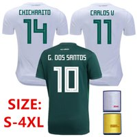 Wholesale Plus Size Men Shirts - Plus Size S-4XL 2XL 3XL 4XL XXL XXXL XXXXL MEXICO Soccer Jersey 2018 world cup CHICHARITO G.DOSSANTOS Football shirt camisetas de futbol