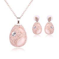 ingrosso orecchino di diamanti giada-Gioielli di giada rosa placcato oro collana set moda diamante da sposa set di gioielli da sposa gioielli da festa rubino jewelrys (collana + orecchini)