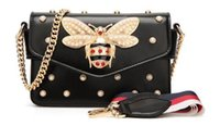 Wholesale black gem chain for sale - Group buy Gem Bee women bag Pendant lady genuine leather handbag luxury handbags women bags designer Vintage Flap Bag Satchels