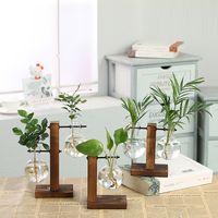 ingrosso pianta di vaso trasparente-Vasi per piante idroponiche Vaso per fiori vintage Vaso trasparente Vaso per fiori in vetro con cornice in legno Vaso per fiori decorativo per bonsai