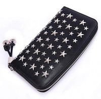 Wholesale multi coins slot for sale - Luxury designer brand Jimmy new five pointed star rivet Genuine Leather wallet jc leather long zipper multi card wallet neutral clutch