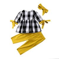 calças de três quartos meninas venda por atacado-6 M-5Y Da Criança Dos Miúdos Do Bebê Da Menina de Algodão Ocasional Xadrez de Três Quartos Manga O-pescoço Tops Camisa Calças Leggings Outfits Roupas 3 Pcs Set