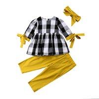 drei viertel hosen mädchen großhandel-6M-5Y Kleinkind Kinder Baby Mädchen Casual Baumwolle Plaid Dreiviertel Ärmel O-Ausschnitt Tops Shirt Hosen Leggings Outfits Kleidung 3Pcs Set
