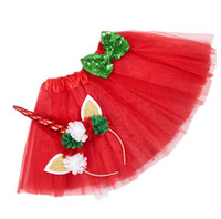ingrosso yellow feather skirt-Rainbow Unicorn Girl Tutu Gonna al ginocchio Ragazza Pony Tema Festa di compleanno Gonne con fascia bambini Unicorno Set costume