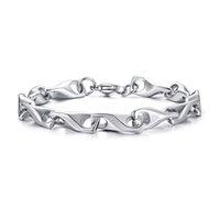 fancy link kette großhandel-Solide Silberton Mens Fancy Gliederkette Armband in Edelstahl stilvolle männliche Schmuck 7,8 Zoll