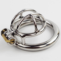 Wholesale adult male penis belt rings online - New Lock Super Small Stainless Steel Male Chastity Device Cock Cage Penis Virginity lock Cock Ring Adult Game Chastity Belt CPA231