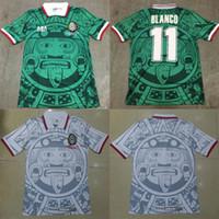 bordado nacional al por mayor-1998 MEXICO Selección Nacional RETRO VINTAGE BLANCO Classic Soccer Jerseys 98 México Campos Hernandez Camiseta de fútbol Logotipo de bordado