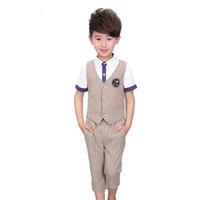 Wholesale ceremony clothing for sale - Summer Kids Wedding Striped Vest Pants for Boys Kids England Style Ceremony Clothing Set Boys Formal Suit Costume N37