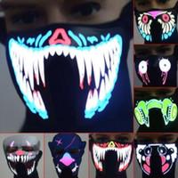 máscaras para dança venda por atacado-41 Estilos EL Máscara de Flash LED Máscara de Música Com Som Ativo para Dança Equitação Partido Patinação Máscara de Controle de Voz Máscaras Do Partido CCA10520 10 pcs