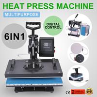 transferencia de camisetas al por mayor-Máquina de la prensa de calor 6In1 Sublimación de transferencia digital para camiseta Mug Hat Phonecase