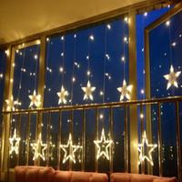decoração ao ar livre luzes estrelas venda por atacado-Decorações de Natal de Ano Novo para Casa Luzes Ao Ar Livre Levou Cordas Branco Quente Natal Navidad Decoração 12 Estrelas Lâmpada Decor.Q