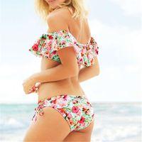 gekräuselte spitzenbikinis großhandel-Schulterfrei Bikini Set Frauen Blumendruck Bademode Push Up Badeanzug Rüschen Bikinis Crop Top Biquini Red Badeanzug Beachwear