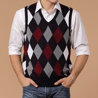 Wholesale Jumper Hombres - 2017 Men Spring Autumn Short Wool Knitted Vest Dad Christmas Sweater Pullover Jumper Jersey Hombre Slim Argyle Cotton Manswear