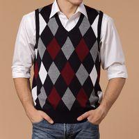 Wholesale black sweater vest men - 2017 Men Spring Autumn Short Wool Knitted Vest Dad Christmas Sweater Pullover Jumper Jersey Hombre Slim Argyle Cotton Manswear
