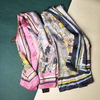 ingrosso seta usata-2018 Nuove donne di modo di disegno grande morbido raso sciarpa / stampato sciarpe di seta quadrati 90 * 90 centimetri / tutte le coperture copre i regali di stoffa molti usi / intero