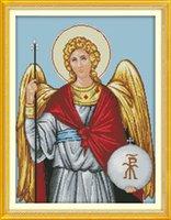 religiöse leinwand gemälde großhandel-religiöse Figur Jesus Engel Dekor Gemälde, Handmade Cross Stitch Stickerei Hand Sets gezählt Druck auf Leinwand DMC 14CT / 11CT