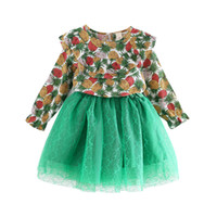 Wholesale autum girl - Baby girls outfits Children pineapple print Lotus leaf collar top+lace Tulle skirts 2pcs set 2018 Autum Boutique Kids Clothing sets C4739