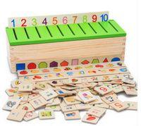 montessori hayvan oyuncağı toptan satış-Newyear giftWooden Sınıflandırma Oyuncak Kutusu Montessori Çocuklar Desen Eşleştirme Sınıflandırmak Oyuncak Eğitim Geometri Meyve Hayvan Öğrenme Ma ...