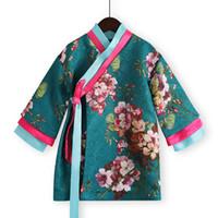 estilo de vestido chinês para meninas venda por atacado-Vestuário de estilo retrô tradicional chinesa top quimono vestido para meninas de crianças